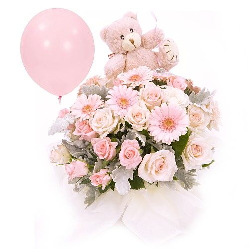 Newborn baby girl flower basket soft toy and balloon gift