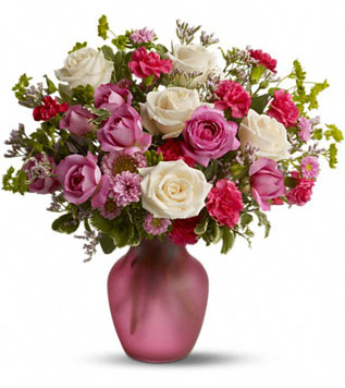 Love with panache 6 pink and 6 white roses