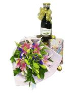Wine, Chocolates and Deluxe Flower Bouquet
