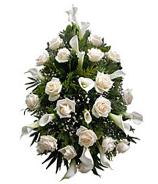 All White Funeral Flower Spray