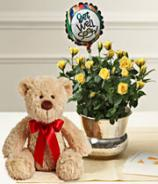 Get well soon gift - Teddy, Balloon and Flower Basket